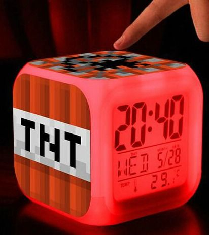Minecraft Creeper Alarm Clock - 7 LED Color Change - Excellent Night Light - Hipster Blog