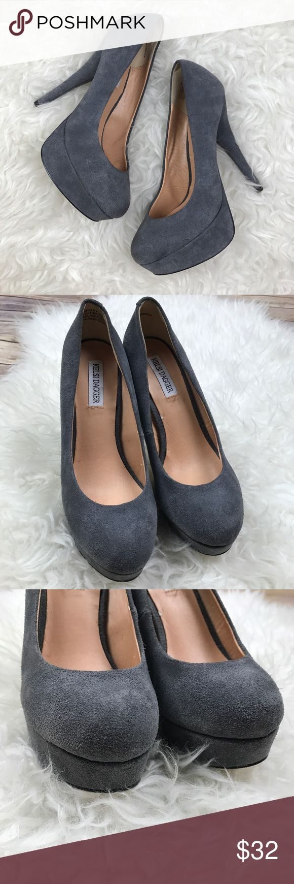 "Kelsi Dagger Gray Suede Tiffany Platforms Good condition Kelsi Dagger Gray Suede Tiffany Platform Pumps. Size 6. Leather Suede. Heels are 5.5"", platforms are 1.5"". No trades, offers welcome. Kelsi Dagger Shoes Platforms"