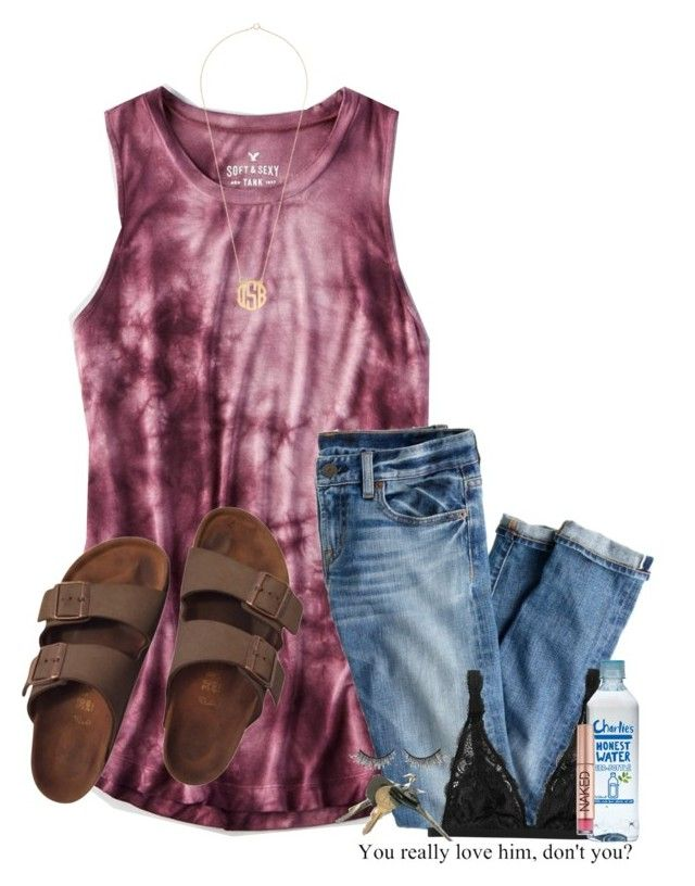 """Spring break, one day away!!!"" by lydia-hh ❤ liked on Polyvore featuring American Eagle Outfitters, J.Crew, Monki, Birkenstock, Rimini and Urban Decay"