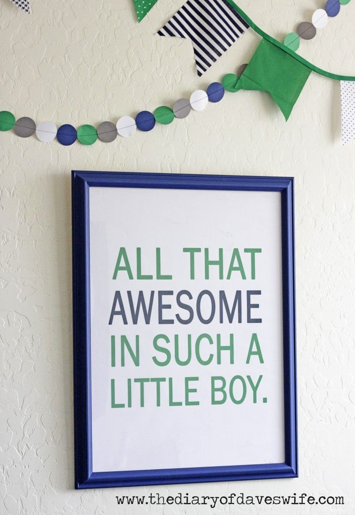 Awesome Free Printable in {4} different Colors PERFECT for any boys room or nursery!  from The Diary of DavesWife
