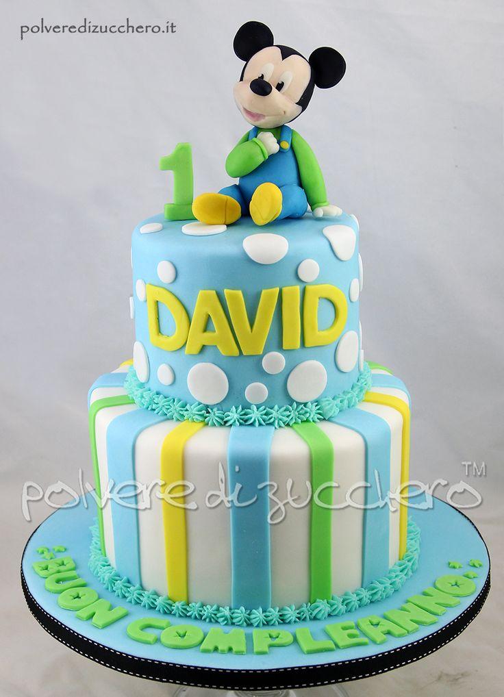 Torta a due piani in pasta di zucchero con baby Topolino Disney  Cake two floors, sugar paste with Baby Mickey Mouse Disney