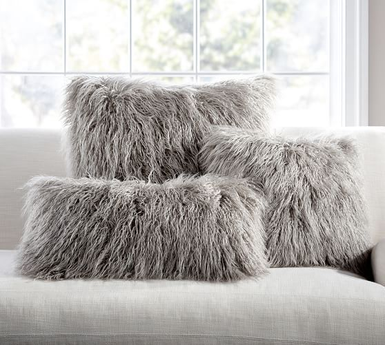 "Mongolian Faux Fur Pillows, Frost Gray / Potterybarn / 18"" sq, 26""sq, 12x24"" lumbar / $49.50-59.50"