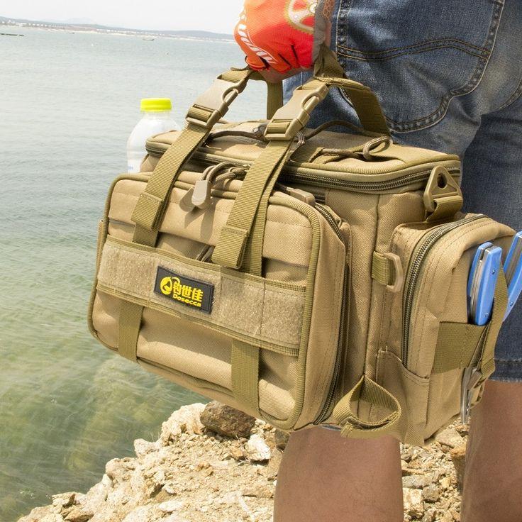 45$  Watch now - DOSECCA 40 * 20 * 18cm Fishing Bag Multi-function Fishing Tackle Bag Waterproof Canvas Waist Fishing Lure Bag Shoulder   #aliexpresschina
