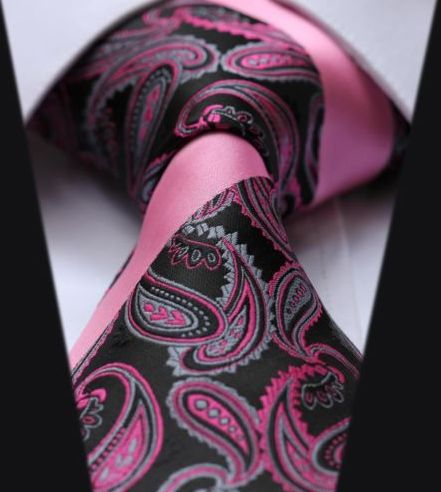Pink and Black Paisley & Striped Silk Tie
