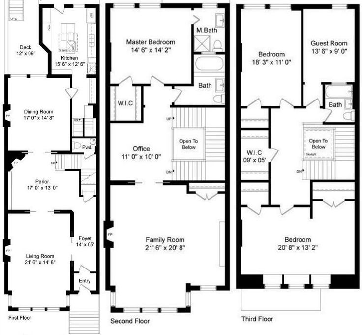 8 best brownstone floorplans images on pinterest 3 4