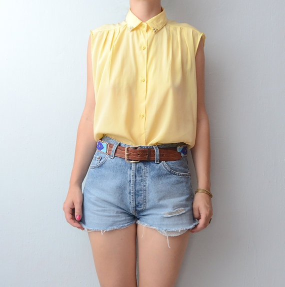 Vintage pastel yellow studded blouse by #ZvezdanaVintage, $29.00