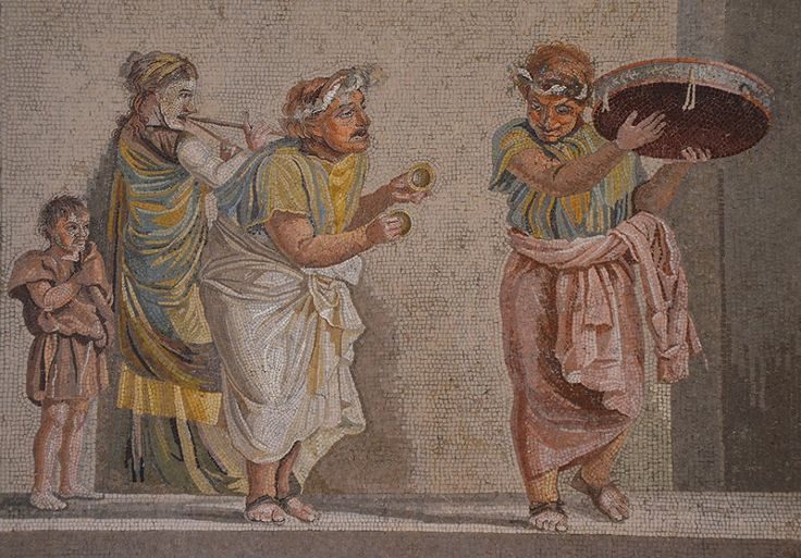 Mosaic depicting street musicians, signed by Dioskourides of Samos, it was found in the so-called Villa of Cicero near the ancient city of Pompeii, 1st century BC, Naples National Archaeological Museum