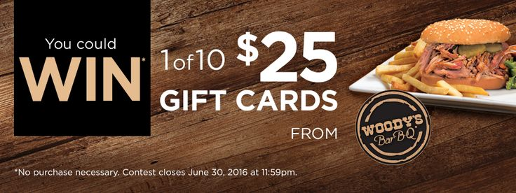Pickering Town Centre: Win 1 of 10 Woody's BBQ gift cards (ON)