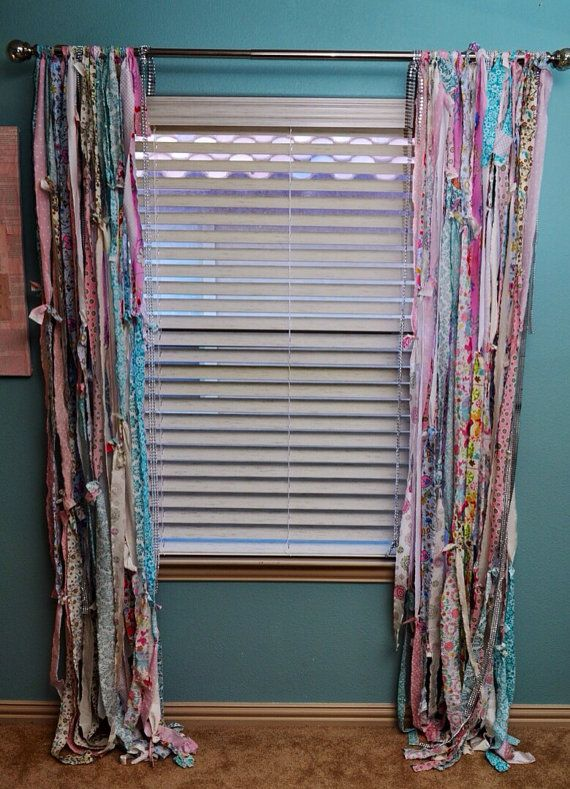 Fabric strip Curtains unique nursery curtains $225.00 OR you could just make yourself easily out of scrap fabric for fraction of the cost...boho look