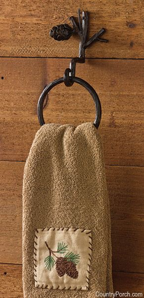 Pine Lodge ring hook and towel for cabin cottage or lodge..already have the shower curtain and window valance!