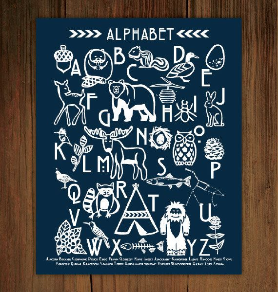 "Woodland Alphabet Poster Print (8""x10""). $20.00, via Etsy.: Frenchpressmornings, It Woodland Alphabet, Cool Ideas, Alphabet Posters, Color Customized, Art For Kids, French Press Mornings"
