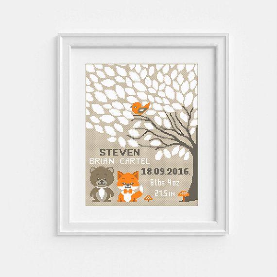 Baby Tree Cross Stitch pattern Personaloized by NikkiPattern