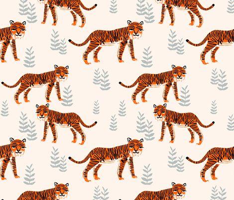 Safari Tiger - Cadmium Orange/Slate Grey/Champagne by Andrea Lauren fabric