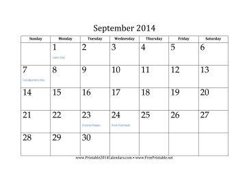 September 2014 Calendar free to download and print