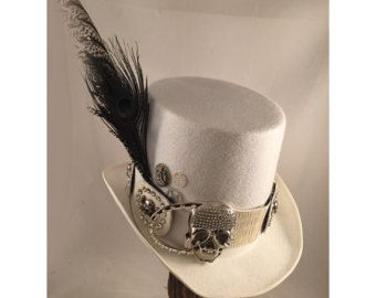 DAY OF THE Dead Top Hat, Steampunk Top Hat, Steampunk Store, White Top Hat…