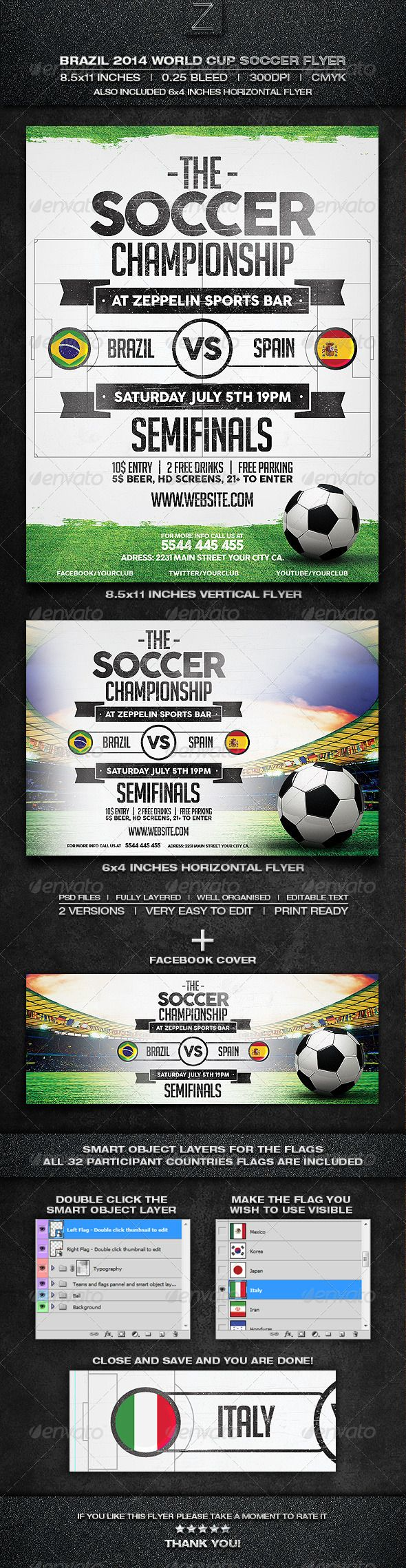 Brazil Soccer World Cup 2014 Flyer Template • Click here to download ! http://graphicriver.net/item/brazil-soccer-world-cup-2014-flyer-template/7755093?ref=pxcr