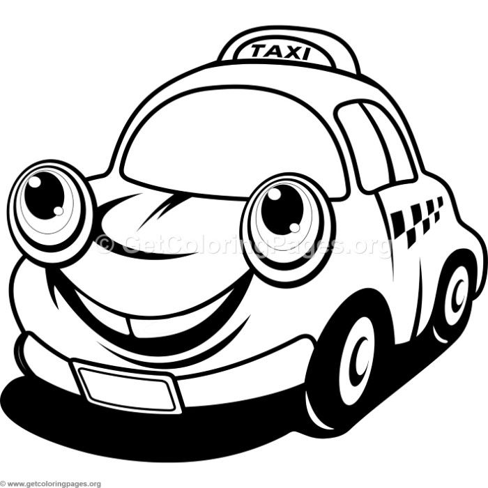 Download For Free Cute Cartoon Taxi Car Coloring Pages Coloring Coloringbook Coloringpages Cars Coloring Pages Free Printable Coloring Cars Coloring Pages