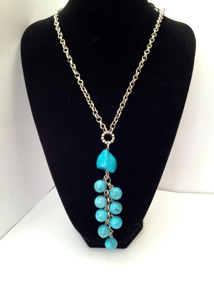 Long chunky blue Howlite gemstone cluster pendant necklace - Michela Rae