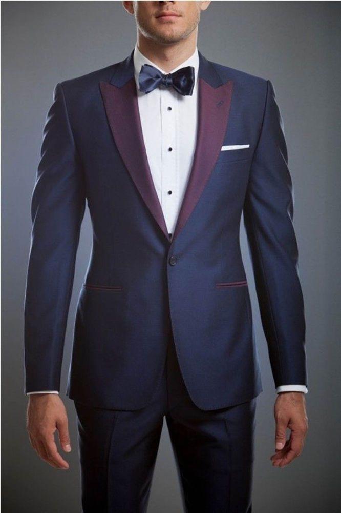 Men Blue Designer Grooms Wedding Purple lapel Tuxedo Dinner Suits