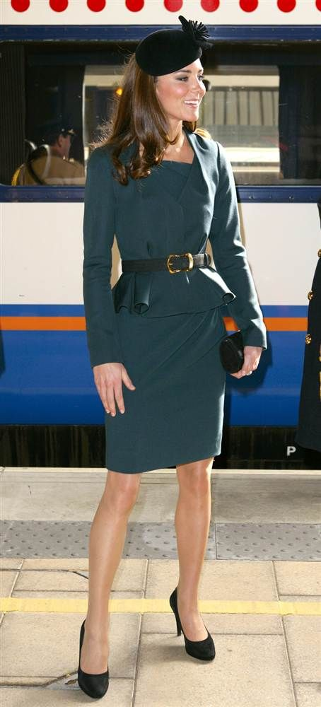 Kate arrives at Leicester Train Station as she accompanies Queen Elizabeth II and Prince Philip, Duke of Edinburgh, on the first date of Queen Elizabeth II's Diamond Jubilee tour of the U.K., March 8, 2012.