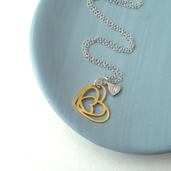 Golden Heart and Initial Necklace by ZeldaWong on Etsy