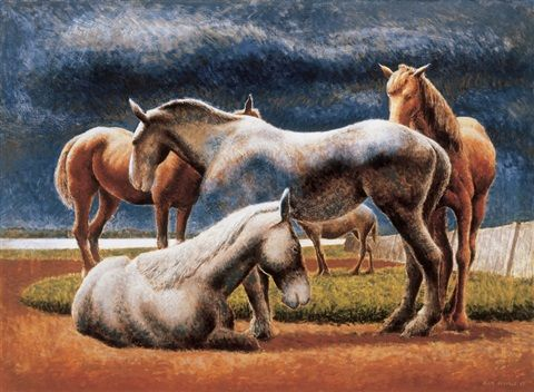 Group of horses by David Alexander Colville