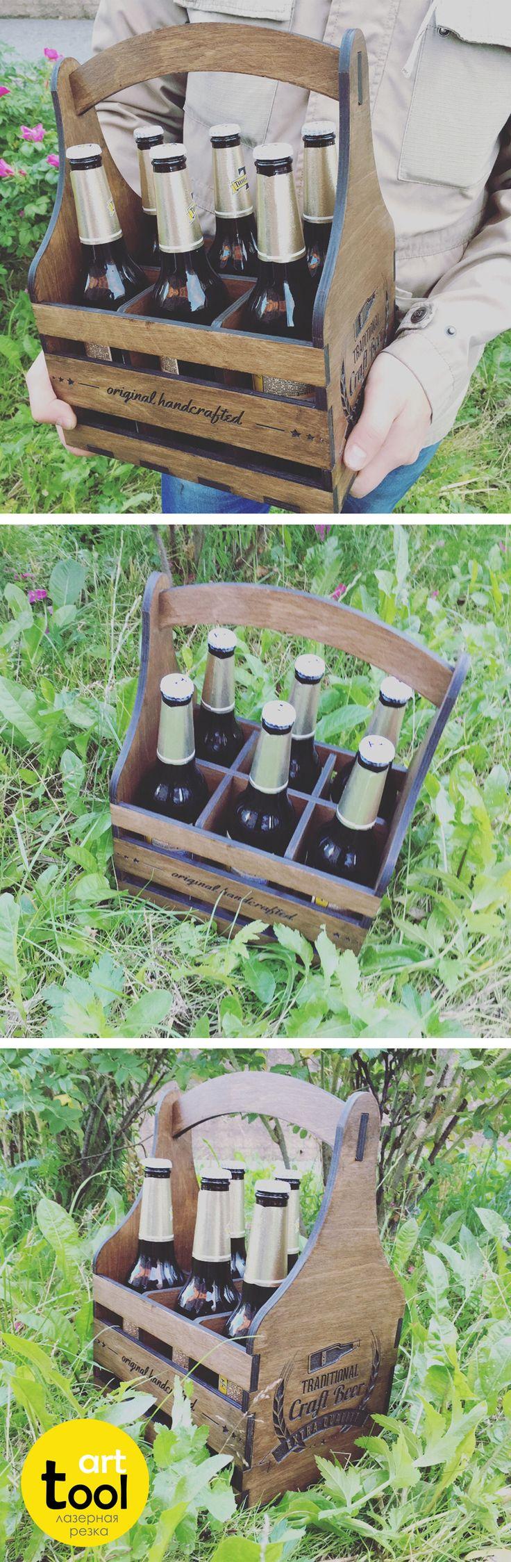 Деревянный ящик для пива, 6 секций под бутылки 0,5л, цвет палисандр