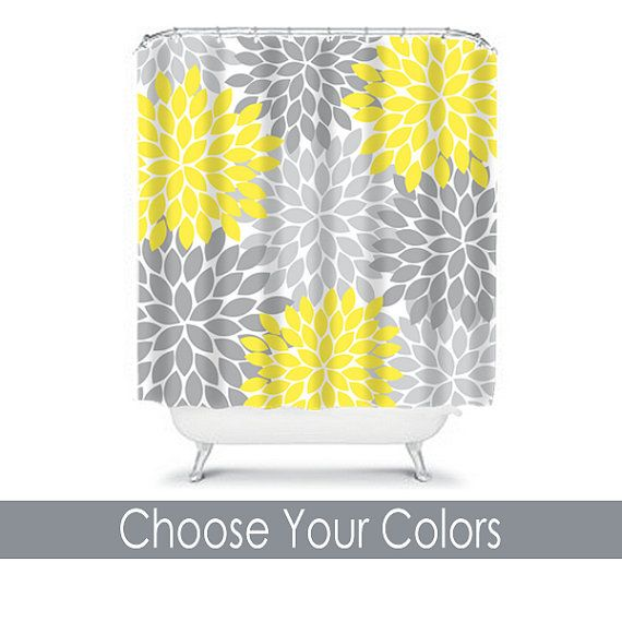 SHOWER CURTAIN Yellow Gray Bathroom Decor Custom MONOGRAM Personalized  Flower Burst Pattern Bath Beach Towel Plush