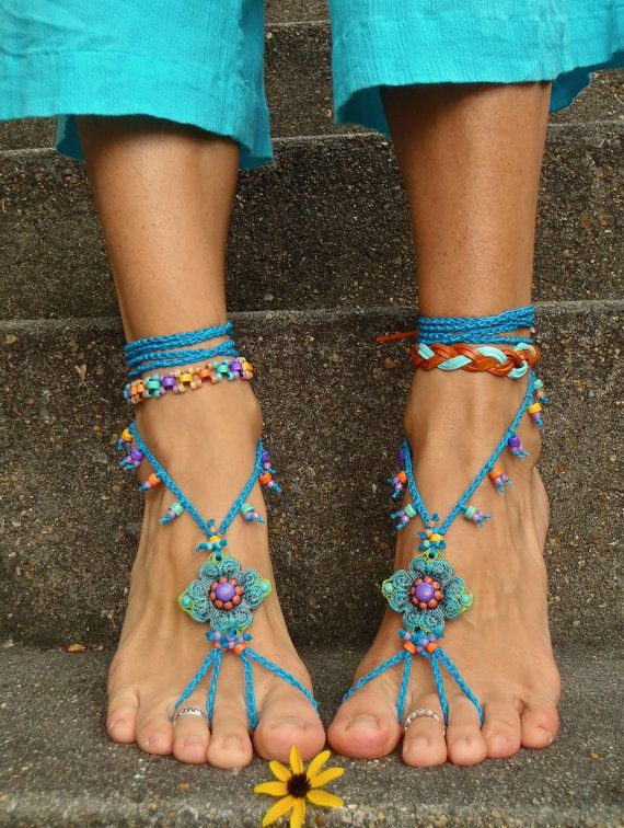 LOVE these, Blue HIPPIE BAREFOOT SANDALS crochet sandals beaded sandals foot jewelry beach wedding bohemian gypsy shoes crochet anklets via Etsy