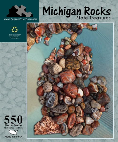 This 550-piece puzzle constructs the state of Michigan using treasured local rocks, including the Petoskey stone!