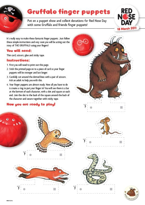 Gruffalo Finger Puppet Show - Download these templates and instructions on how to make your very own Gruffalo finger puppets - and then put on a show.