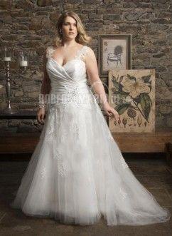 Magnifique robe de mariée grande taille col en cœur bustier organza