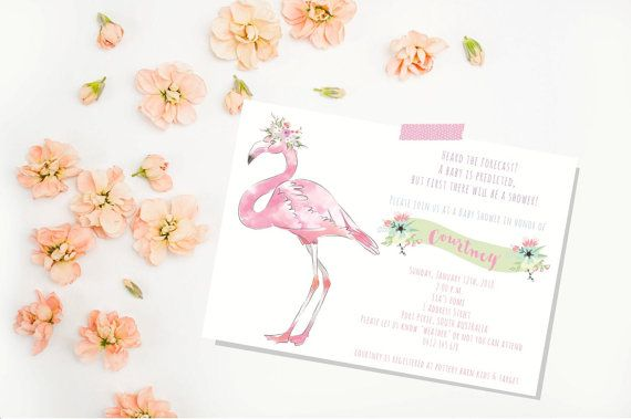 Flamingo Baby Shower Invitation. Baby by LittleZeePrintables