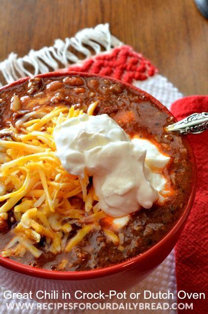Best Homemade Chili in Crock-Pot or Dutch Oven - Video https://recipesforourdailybread.com/2013/01/10/best-homemade-chili-video/  #chili #soup
