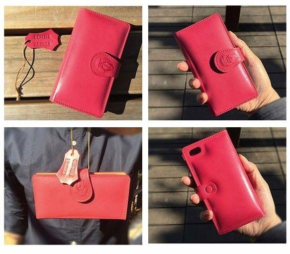 [iphone6plus/6splus][S2OK Cherry pink]イタリア本革 手帳ケース|iPhoneケース・カバー|MOT|ハンドメイド通販・販売のCreema