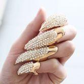 Garra de Ouro Cristal Ring (1,4 * 4,2 centímetros) - Sheinside.com