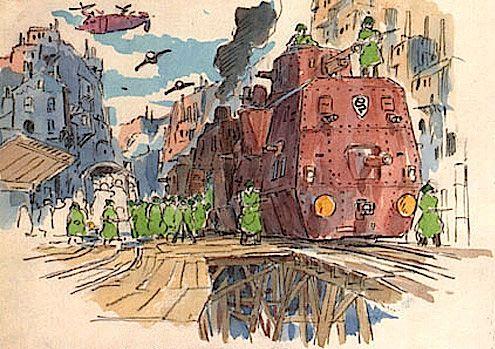 Film: Castle In The Sky ===== Prop Design: Railroad Tanks ===== Production Company: Studio Ghibli ===== Director: Hayao Miyazaki ===== Producer: Isao Takahata ===== Written by: Hayao Miyazaki ===== Distributed by: Toei Company