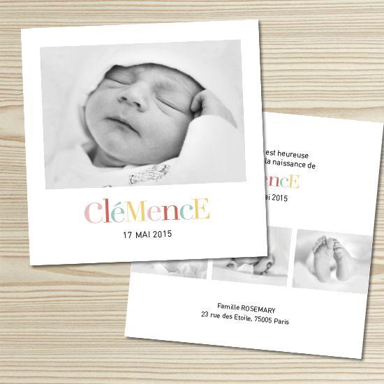 Tanni Lou - Faire-part naissance CLÉMENCE | Modèle personnalisable gratuitement (texte et couleur)