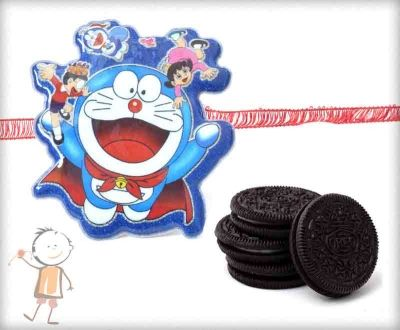 Doraemon and Gang Rakhi with Oreo Biscuit Combo