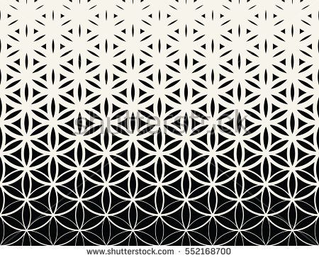 Abstract sacred geometry black and white gradient flower of life halftone pattern