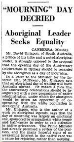 News Paper Clipping: Mourning Day Decried Aboriginal Leader Seeks Equaltiy