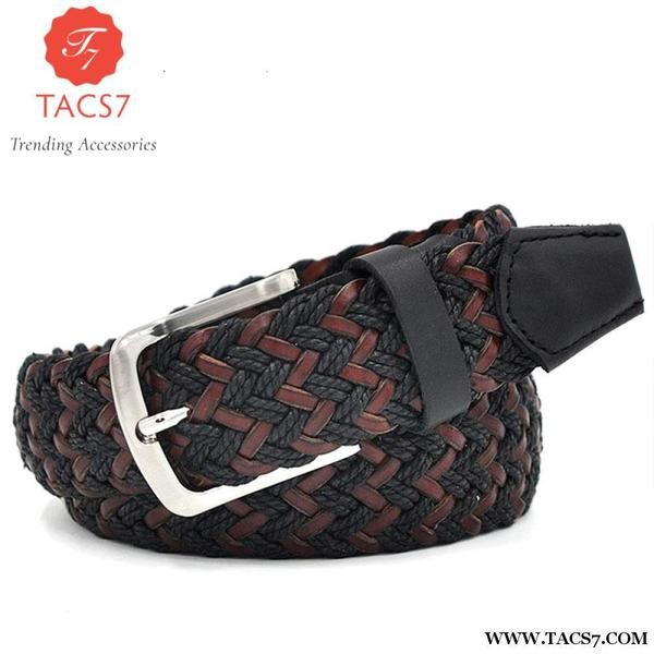 Casual Woven  Belt With Wax Rope And German Bonded Leather Trending Accessories