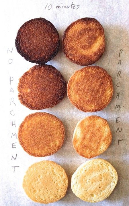 """The secret to perfectly browned cookies.   A comparison of four """"colors"""" of pans, plus """"with"""" vs. """"without"""" baking parchment paper."""