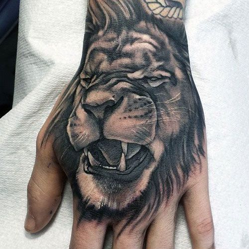 Animal Hand Tattoos - Lion