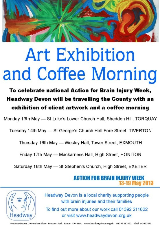 This Action for Brain Injury Week we'll be touring the county with an exhibition of client artwork and a coffee morning - we hope to see you there!