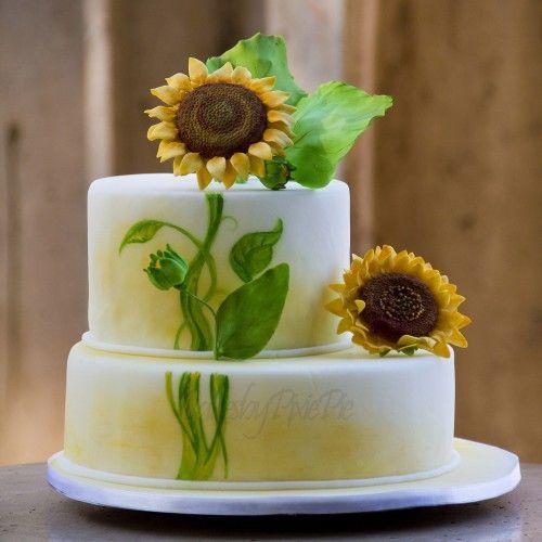 Hand painted sunflower cake / napraforgós torta