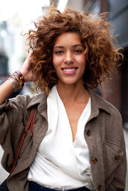 messy curls - I want this hair cut so bad, my hair would be great at it, but unlike this gorgeous woman I don't have a long face to offset the roundness of my hair. DAMN