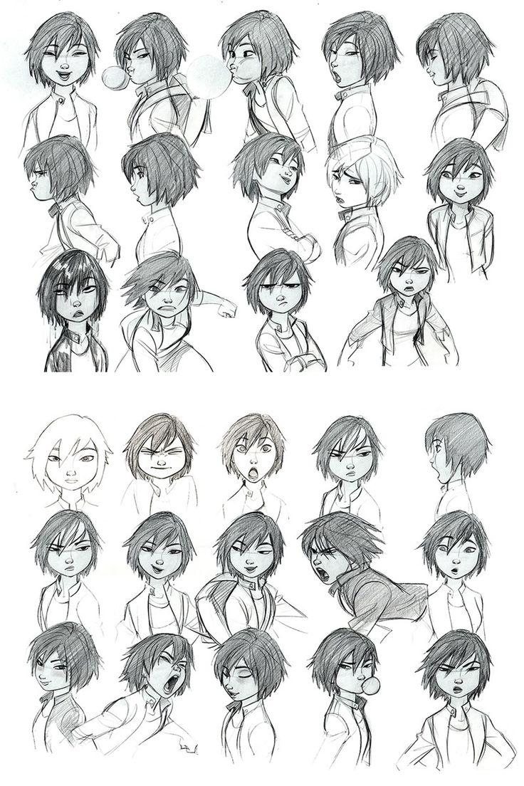 Expressões e poses de GoGo Tomago, por Jin Kim | THECAB - The Concept Art Blog