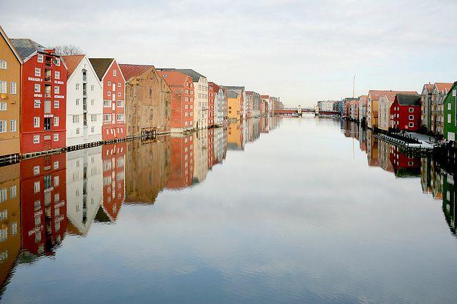 Nidelven river in Trondheim, Norway