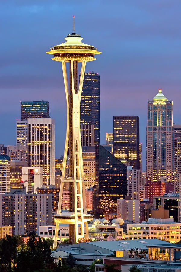 Space Needle and sky line, Seattle  WA - spent so many happy new years eves on Vashon Island 1980's with sister-in-law's family. This us the view across the sound to Seattle.